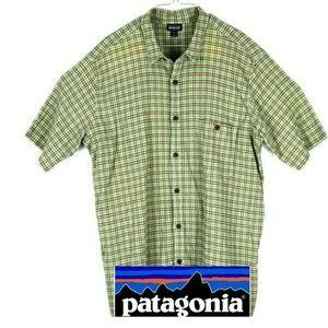 Patagonia Mens Green Plaid Organic Cotton Button